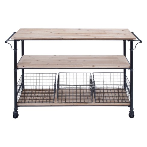 Metal and Wood Rolling Utility Cart Brown - Olivia & May - image 1 of 4