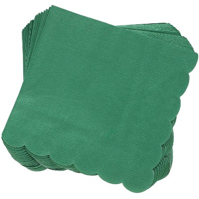 Juvale 100-Pack Scalloped Edge Disposable Cocktail Paper Napkins 5 x 5 In, Forest Green