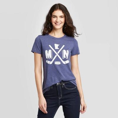 Women's Short Sleeve Crewneck Minnesota Hockey Graphic T-Shirt - Awake Heather Navy
