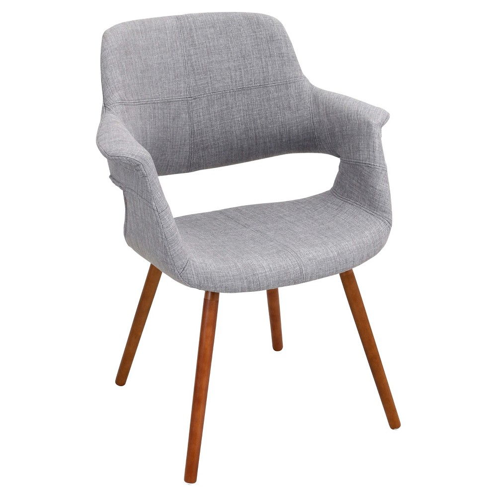 Vintage Flair Mid Century Modern Walnut Wood Legged Dining Chair Polyester/Light Gray - LumiSource, Light Grey