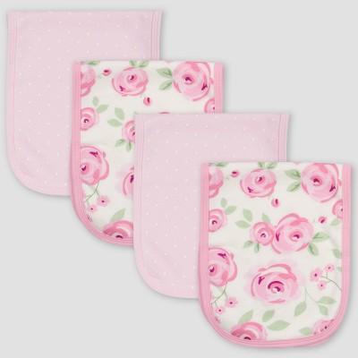 Gerber Baby Girls' 4pk Floral Burp Cloth - Pink/White