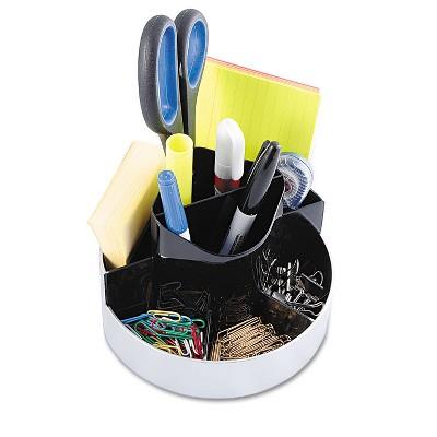 Kantek Rotating Desk Organizer Plastic 6 x 5 3/4 x 4 1/2 Black/Silver ORG620
