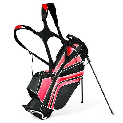Costway Golf Stand Cart Bag Club w/6 Way Divider Carry Organizer Pockets Storage Red