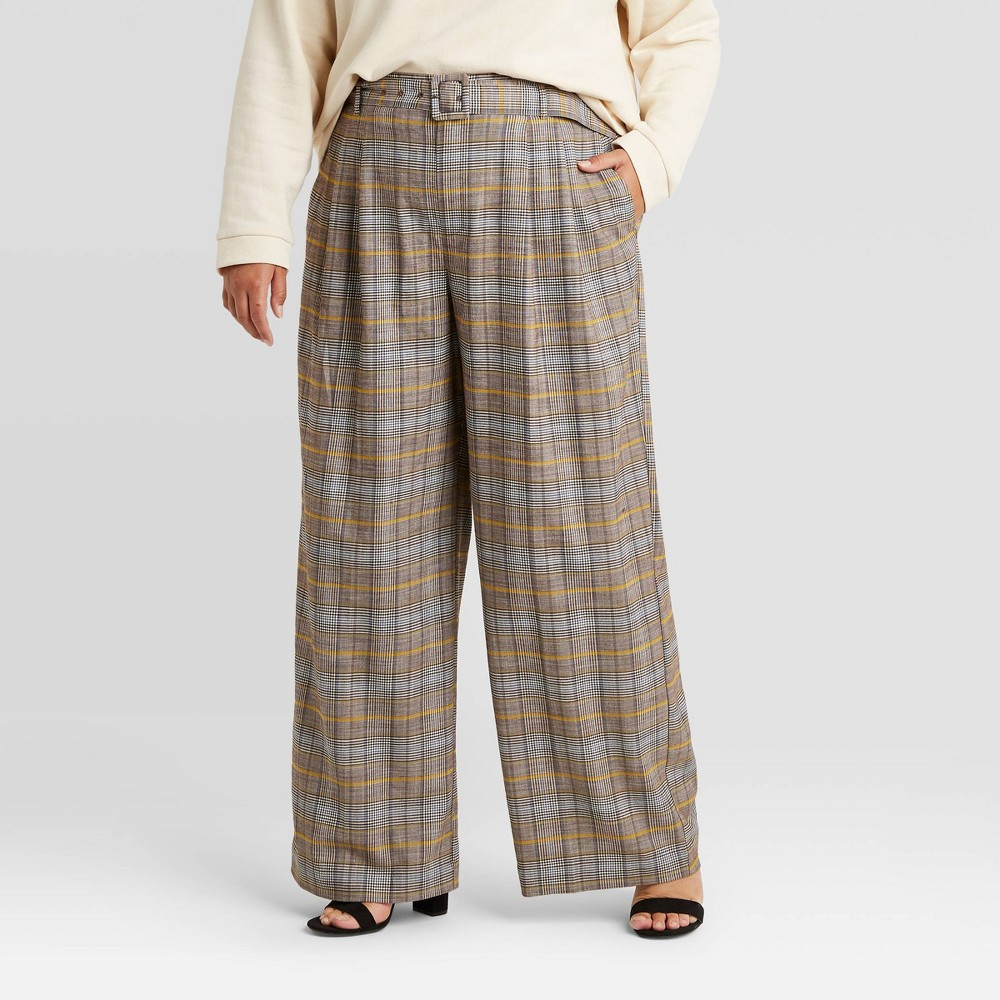 1940s Pants History- Overalls, Jeans, Sailor, Siren Suits Womens Plus Size Plaid Belted Wide Leg Pants - A New Day Gray 16W $29.99 AT vintagedancer.com