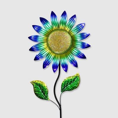56  Resin Colorful Metal Sunflower Garden Stake Blue - Exhart