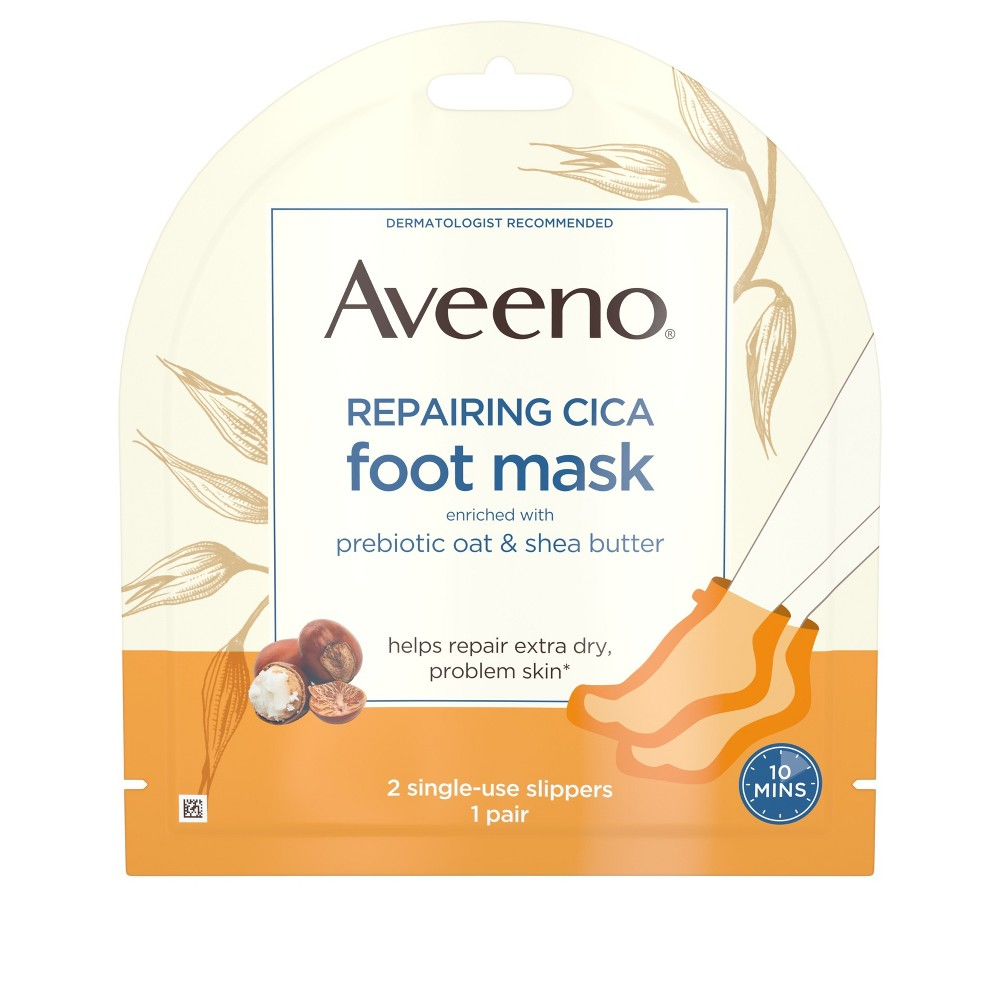 Aveeno Repairing Cica Moisturizing Foot Mask with Oat 2 Slippers
