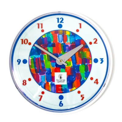 """12.75"""" x 1.5"""" Watercolor Paints Children's Decorative Wall Clock White Frame - By Chicago Lighthouse"""
