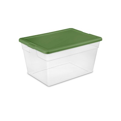 Sterilite 56qt Non Latching Bin with Lid Red/Green
