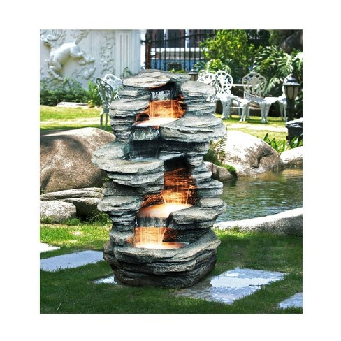 """38.5"""" 4 Levels Rock Water Fountain with Halogen Light Gray - Hi-Line Gift - image 1 of 1"""