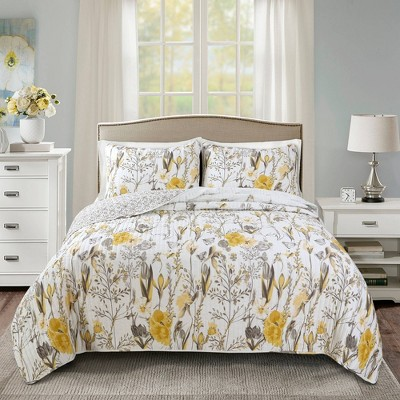 Full/Queen 3pc Adalia Quilt Set Yellow/Gray - Lush Décor