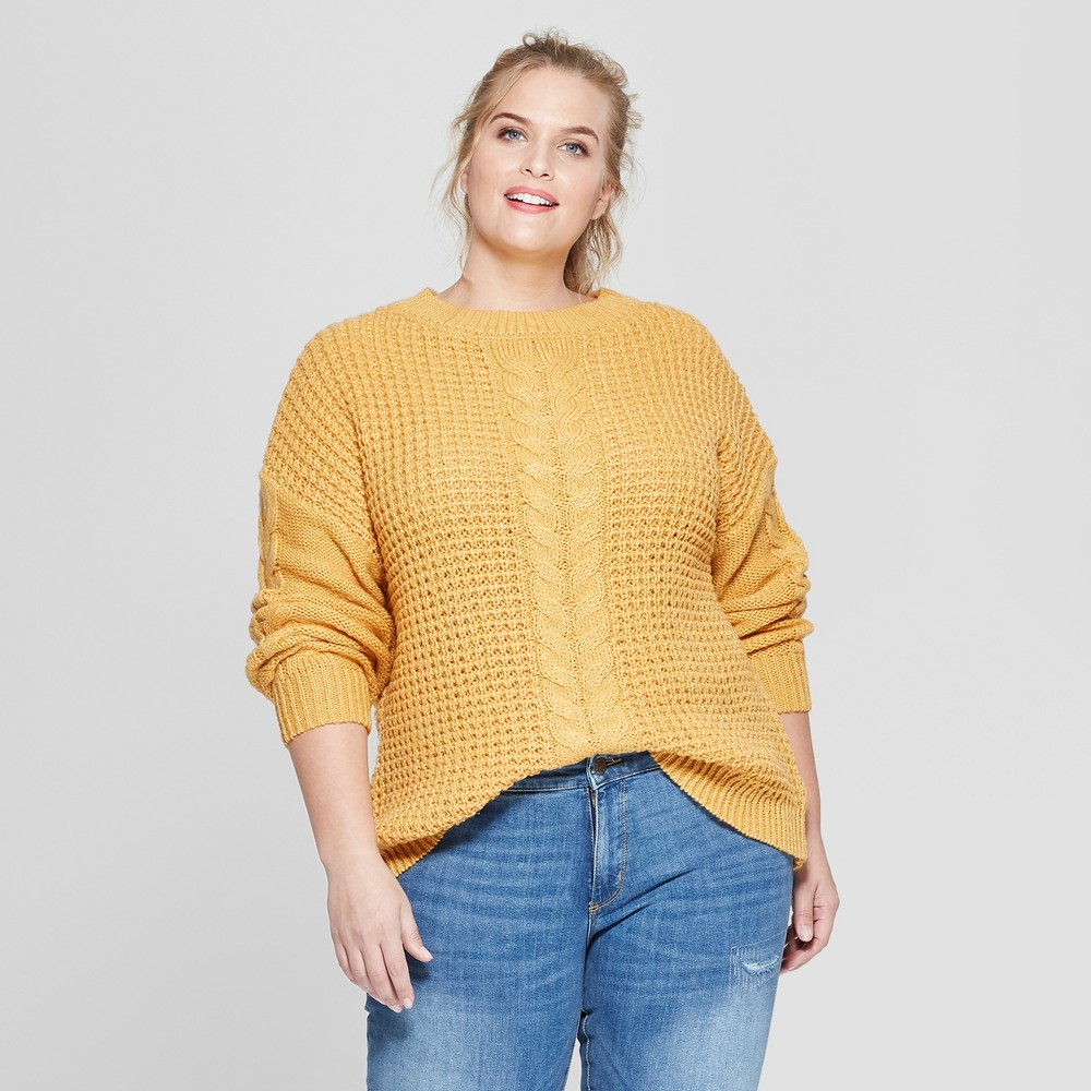 Plus Size Women's Plus Long Sleeve Placed Cable Pullover Sweater - Ava & Viv Yellow 4X