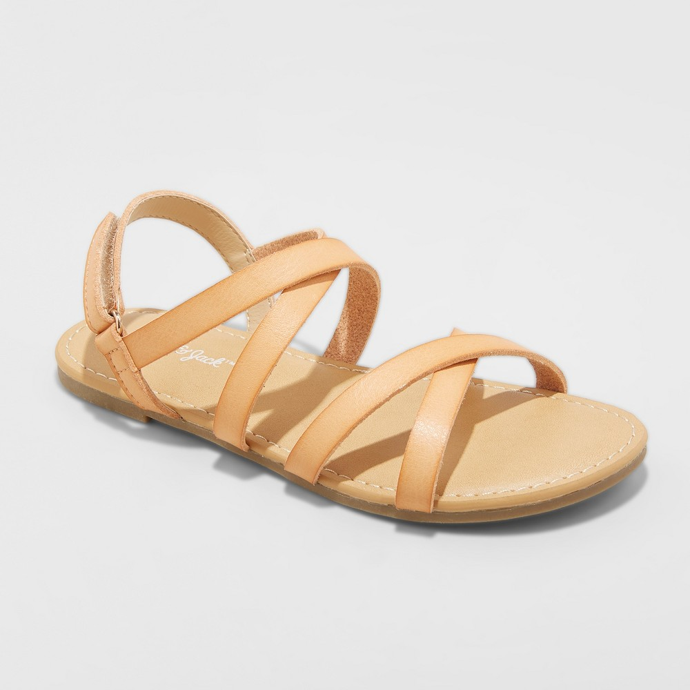 Girls' Nia Strappy Ankle Strap Sandals - Cat & Jack Tan 4