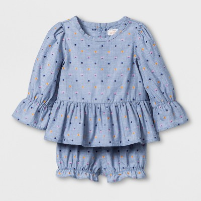 Baby Girls' 2pc Woven Shorts and Top Set - Cat & Jack™ Blue 6-9M