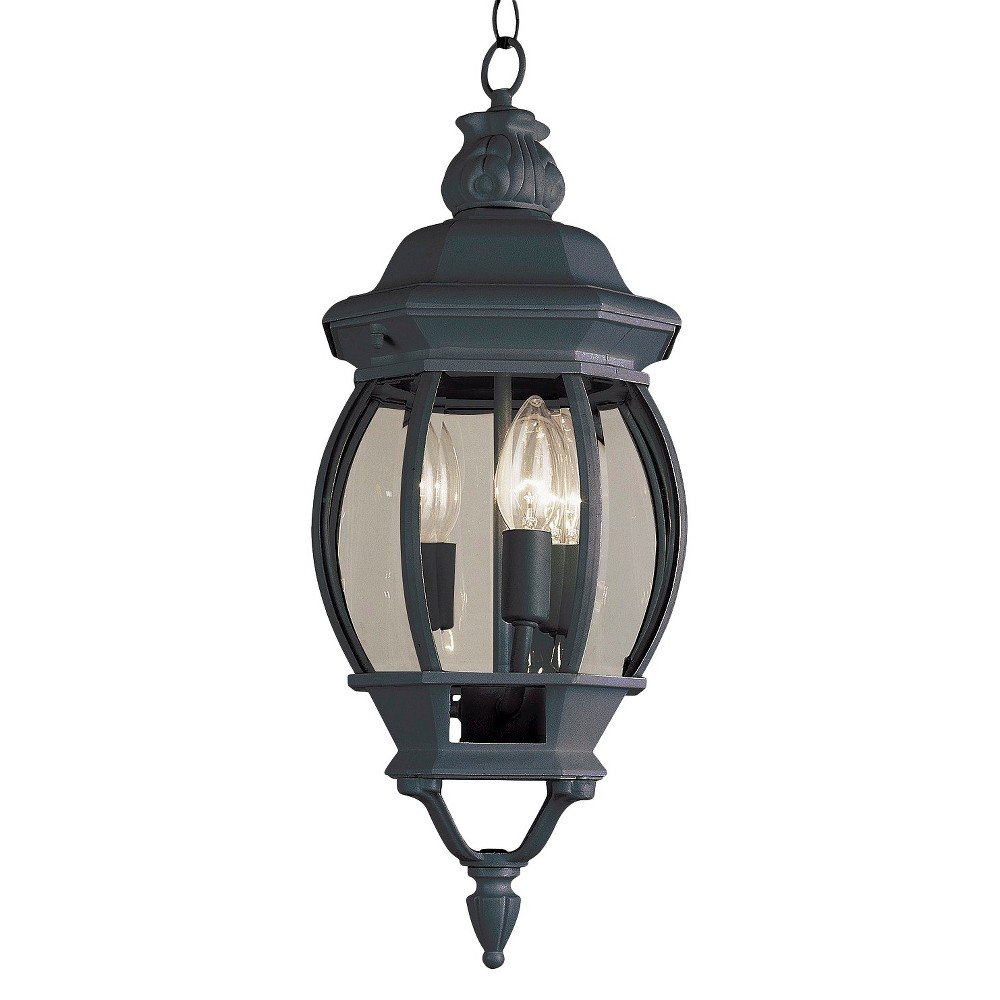 "Image of ""Italian Estate 25"""" Hanging Outdoor Lantern In Black"""