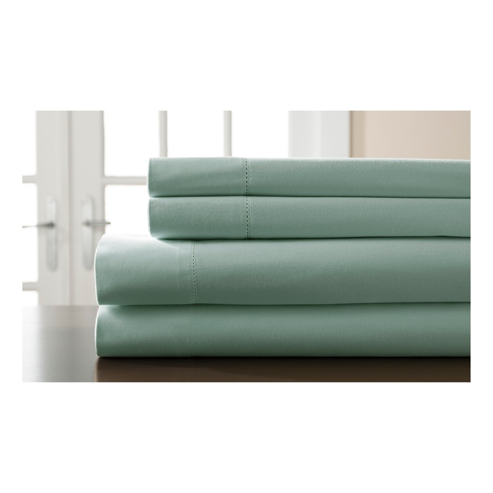 Hemstitch Solid 400 Thread Count Sateen Sheet Set (Twin) Spa Blue - Elite Home Products