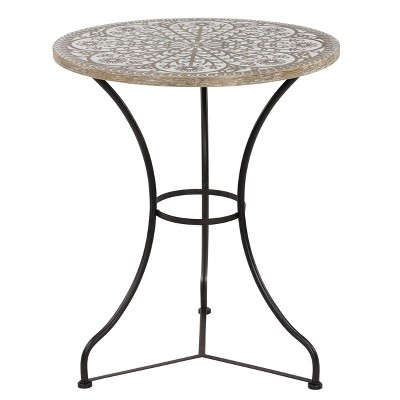 Accent Table, Floral Wooden Top With Black Iron Base - Olivia & May