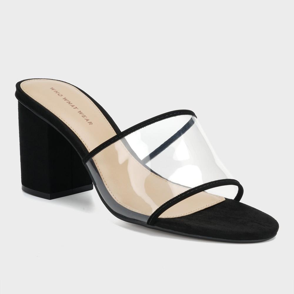 Women's Danielle Vinyl Heeled Mules - Who What Wear Black 5.5