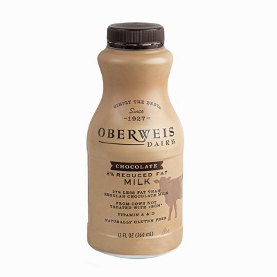 Oberweis Reduced Fat Chocolate Milk - 12 fl oz