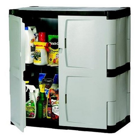 Rubbermaid Plastic Base Cabinet Utility Or Garage Storage Charcoal