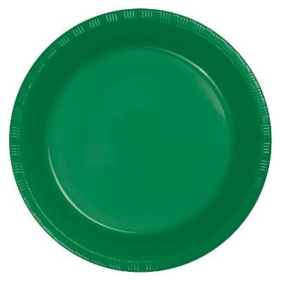 "Emerald Green 9"" Plastic Plates - 20ct"
