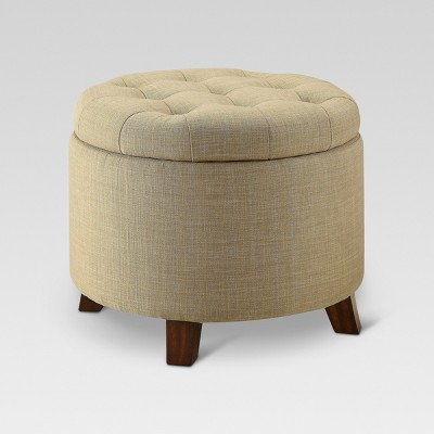 Tufted Round Storage Ottoman - Beige - Threshold™