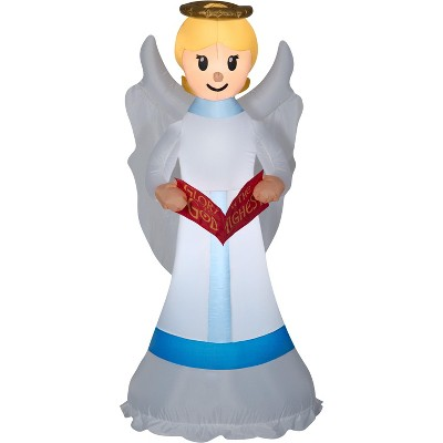 Gemmy Christmas Airblown Inflatable Angel OPP, 6 ft Tall, Grey