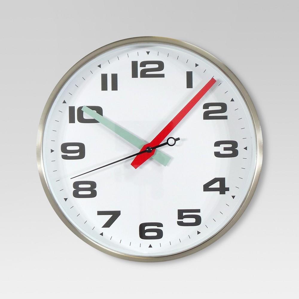 10 Round Wall Clock White/Silver - Threshold