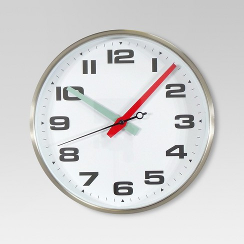10 Quot Round Wall Clock White Silver Threshold Target