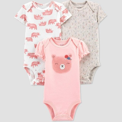 Baby Girls' 3pk Bear Short Sleeve Bodysuit - Just One You® made by carter's Pink 6M