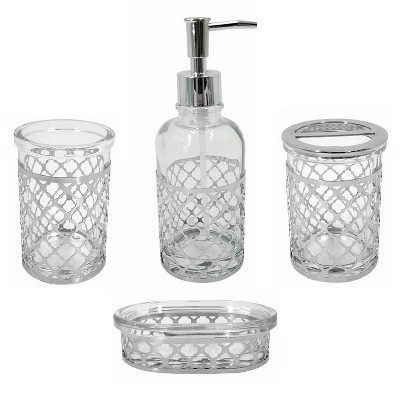 4pc Marquis Bath Set Clear - Popular Bath