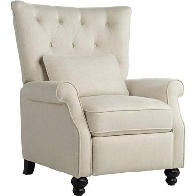 Studio 55D Bryce Natural Linen Push Back Recliner Chair