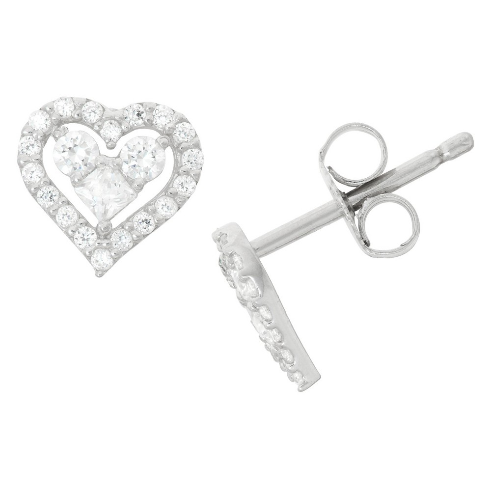 0.43 CT. T.W. Children's Fashion Cubic Zirconia Heart Earrings In Sterling Silver, Girl's