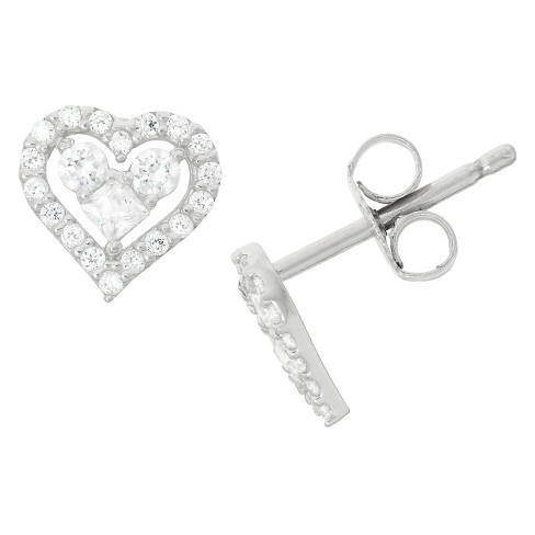 0.43 CT. T.W. Children's Fashion Cubic Zirconia Heart Earrings In Sterling Silver - image 1 of 1
