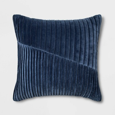 Square Pleated Velvet Pillow Navy - Project 62™