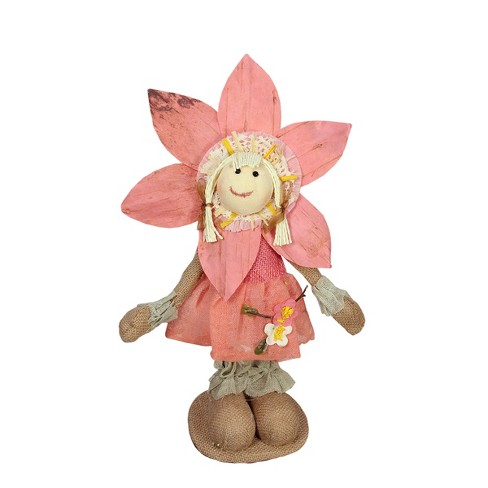 """Northlight 14.5"""" Peach and Tan Spring Floral Standing Sunflower Girl Decorative Figure - image 1 of 1"""