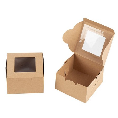 Juvale 50-Pack Bakery Pastry Box with Clear Display Window, Donut, Mini Cake, Kraft - image 1 of 4