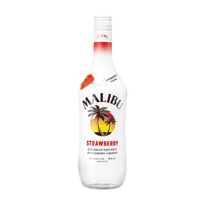 Malibu Strawberry Flavored Caribbean Rum - 750ml Bottle