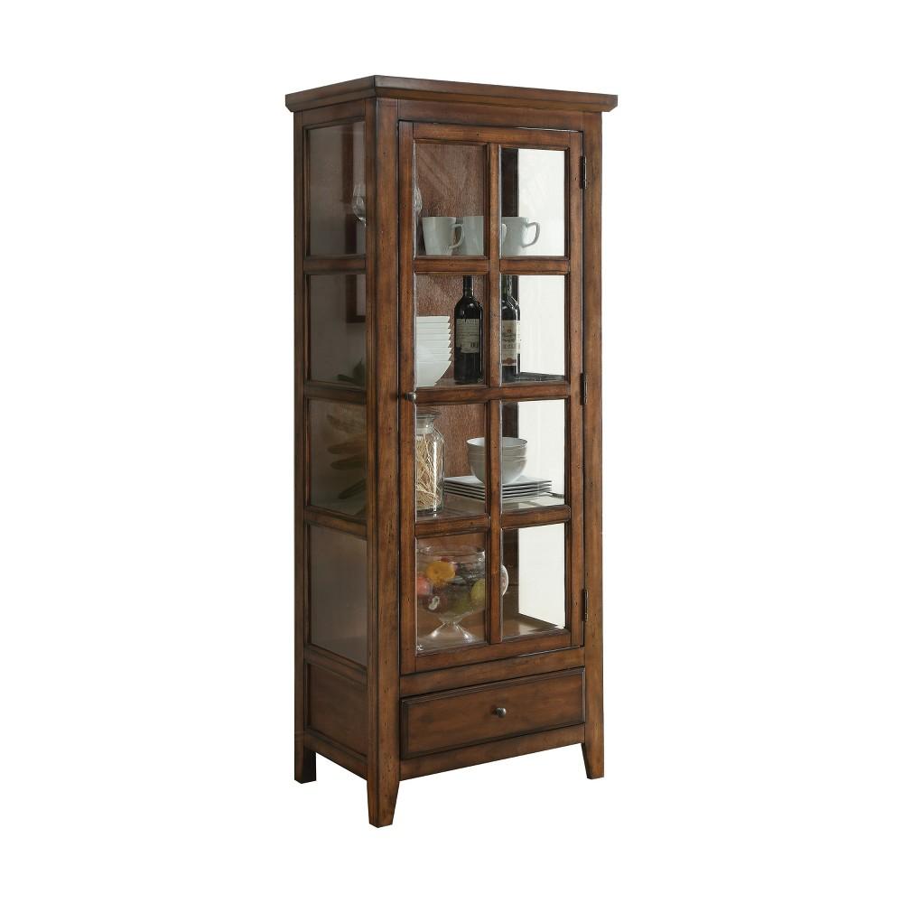 Acme Furniture Lartius Curio Cabinet Distress Cherry/Oak Brown