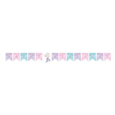 """""""Happy Birthday"""" Mermaid Print Iridescent Banner"""