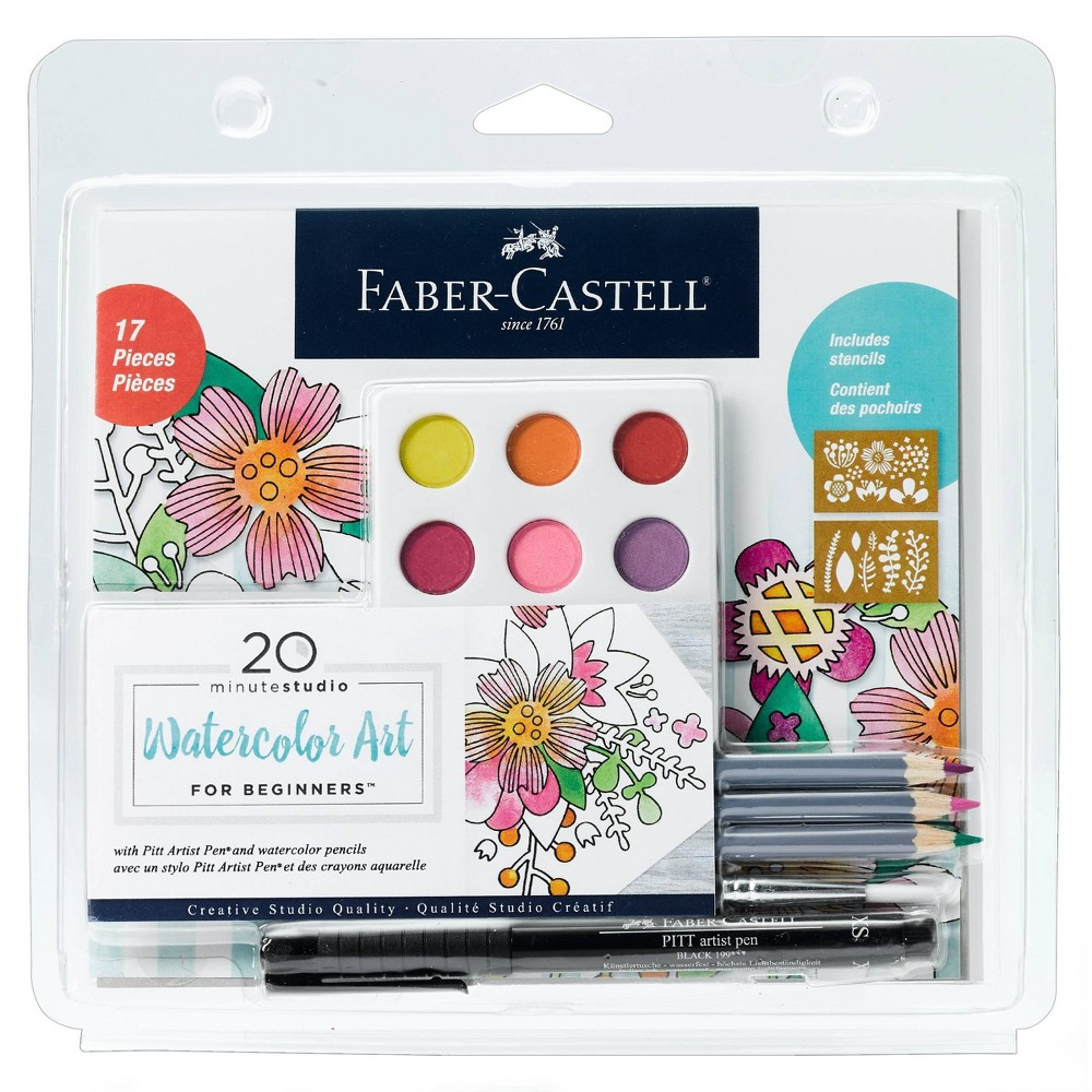 Image of 17pc 20 Minute Studio Watercolor Art for Beginners - Faber-Castell