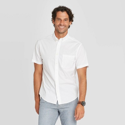 Men's Slim Fit Stretch Poplin Short Sleeve Button-Down Shirt - Goodfellow & Co™