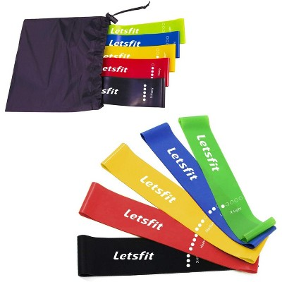 "Letsfit Resistance Anti-Slip Loop Bands Resistance Exercise Bands for Home Fitness Stretching, Strength Training, Pilates Flex Bands and Home Workouts  12"" x 2"" - JSD01-5P"
