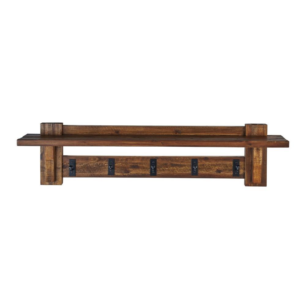 Image of Durango Industrial Wood Coat Hook Shelf and Bench Set Dark Brown - Alaterre