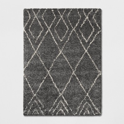 5'X7' Diamond Patterned Shag Woven Area Rug Gray - Project 62™