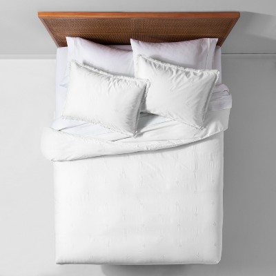 White Garment Washed Embroidered Duvet Cover Set (King)- Opalhouse™