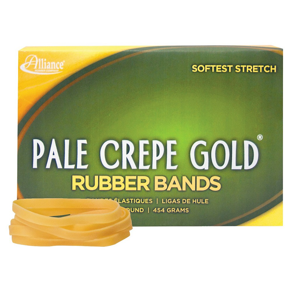 Image of Alliance Pale Crepe Gold Rubber Bands, Size 64, 3-1/2 x 1/4, 1lb Box