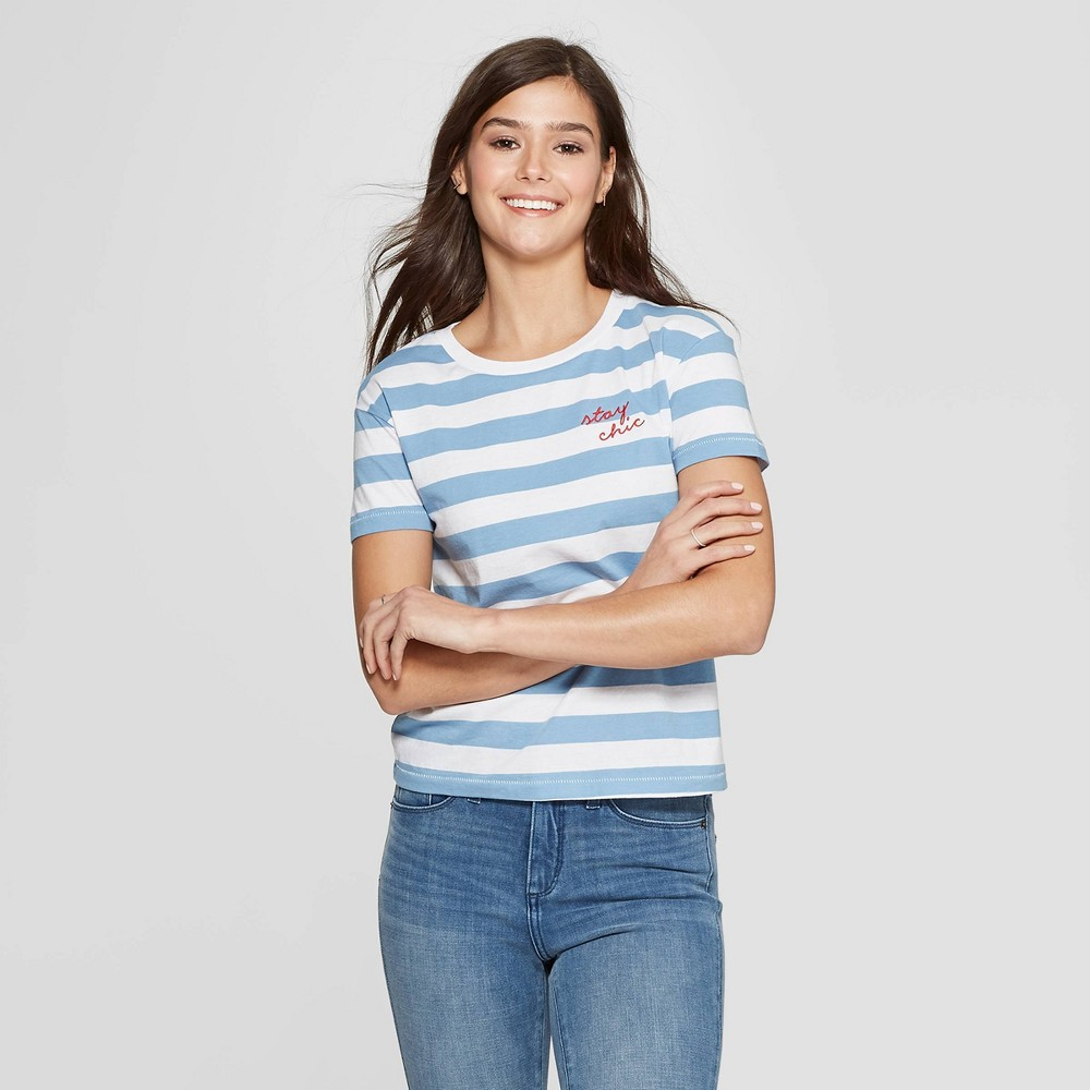 Women's Striped Short Sleeve Crewneck Stay Chic T-Shirt - Fifth Sun (Juniors') - White/Blue M