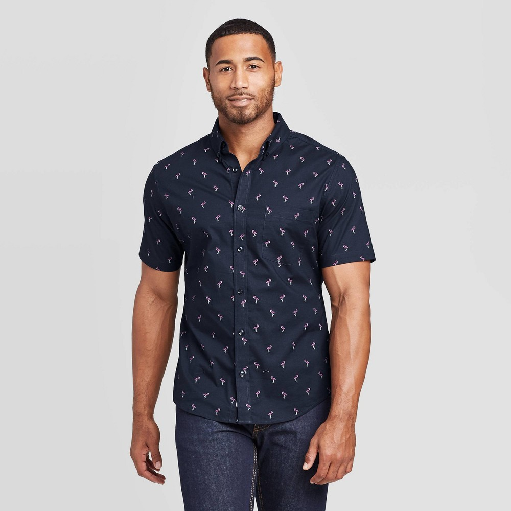 Men's Animal Print Slim Fit Short Sleeve Poplin Button-Down Shirt - Goodfellow & Co Navy L, Blue was $19.99 now $12.0 (40.0% off)
