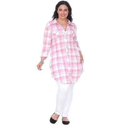 Women's Plus Size Piper Stretchy Plaid Tunic with Pockets - White Mark