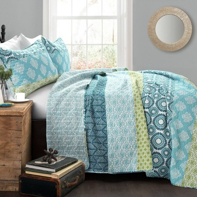 Bohemian Stripe 3 Piece Quilt Set - Lush Décor